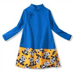 Winter qipao Blue yellow panda