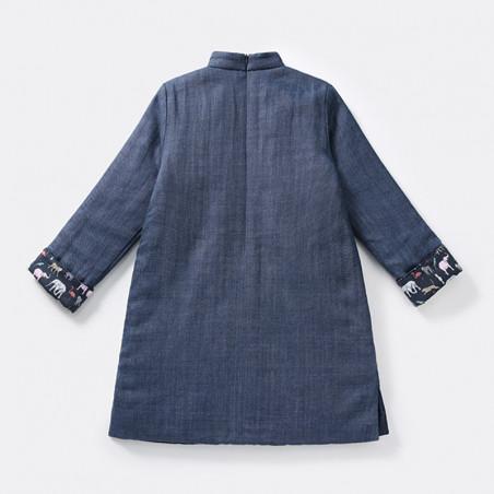Qipao Blue gray leaves