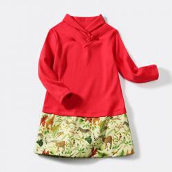 Red dress tropical safari